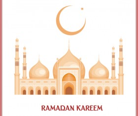 Ramadan kareem card with decor frame vector