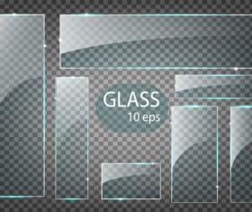 Rectangle glass banner vector 01