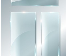 Rectangle glass banner vector 03