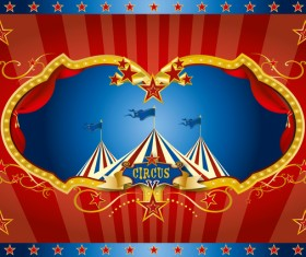 Red circus screen background vector