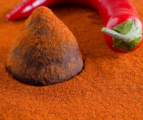 Red pepper and Chocolate truffle Stock Photo