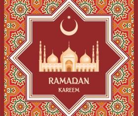 Red ramadan greeting card vector 01