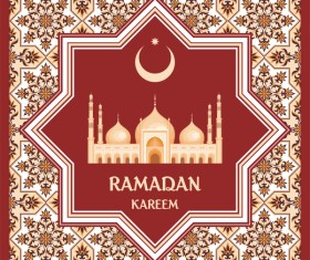 Red ramadan greeting card vector 02