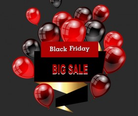 Red with black balloon and black friday background vector 01