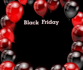 Red with black balloon and black friday background vector 02