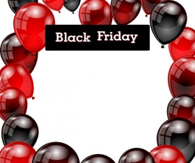 Red with black balloon and black friday background vector 03