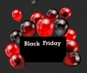 Red with black balloon and black friday background vector 04
