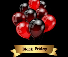 Red with black balloon and black friday background vector 05