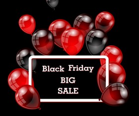 Red with black balloon and black friday background vector 06