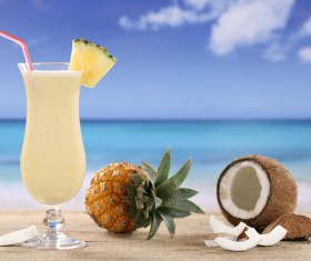 Refreshing coconut cocktail Stock Photo 03