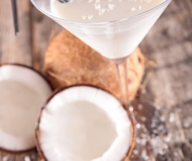 Refreshing coconut cocktail Stock Photo 05