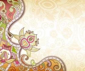 Retro decorative floral ornate vectors 02