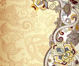 Retro decorative floral ornate vectors 03
