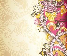 Retro decorative floral ornate vectors 04