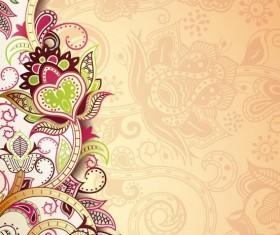 Retro decorative floral ornate vectors 06