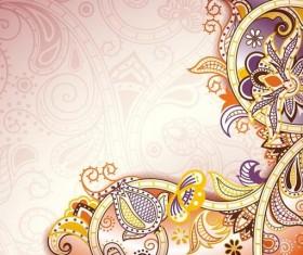Retro decorative floral ornate vectors 07