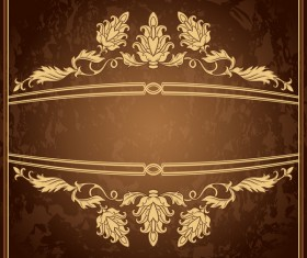 Retro floral decor with vintage background vector 02