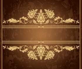 Retro floral decor with vintage background vector 03