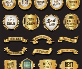 Retro golden ribbons and labels vector set 05