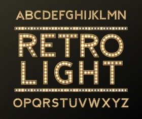 Retro lights alphabets design vector
