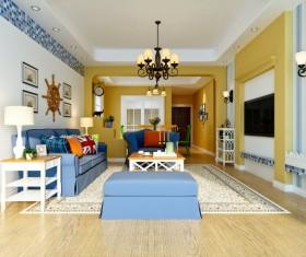 Retro living room decoration Stock Photo