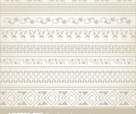 Retro seamless borders decor vector set 01