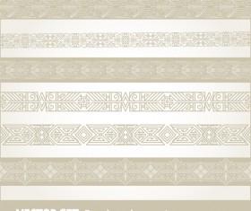 Retro seamless borders decor vector set 14