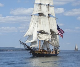 Sailboat flying the American flag Stock Photo 01