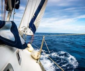 Sailboat right close-up Stock Photo