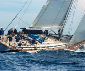 Sailboat sailing at sea Stock Photo