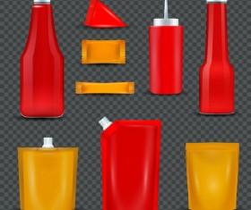 Sauce bottles packages vector set