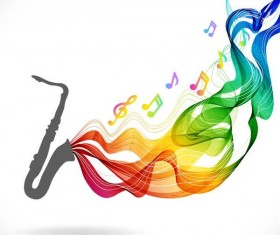 Saxophone with colored wave background vector