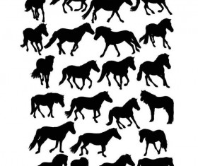 Set of horse silhouette vector material 01