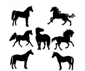 Set of horse silhouette vector material 02