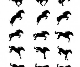 Set of horse silhouette vector material 03