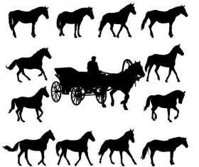 Set of horse silhouette vector material 04
