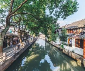 Shanghai Zhujiajiao river landscape Stock Photo