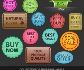 Shopping labels with badge vector material
