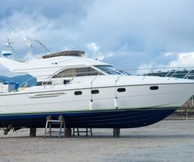 Shore repair yacht Stock Photo