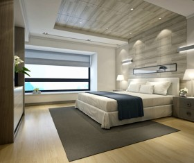Simple and stylish bedroom Stock Photo 04
