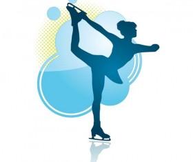Skating girl silhouette vector material