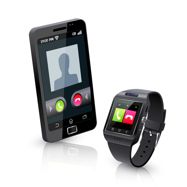Smart mobile phone with watch vector