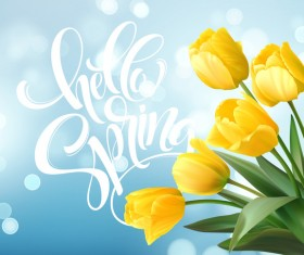 Spring yellow tulips background vector