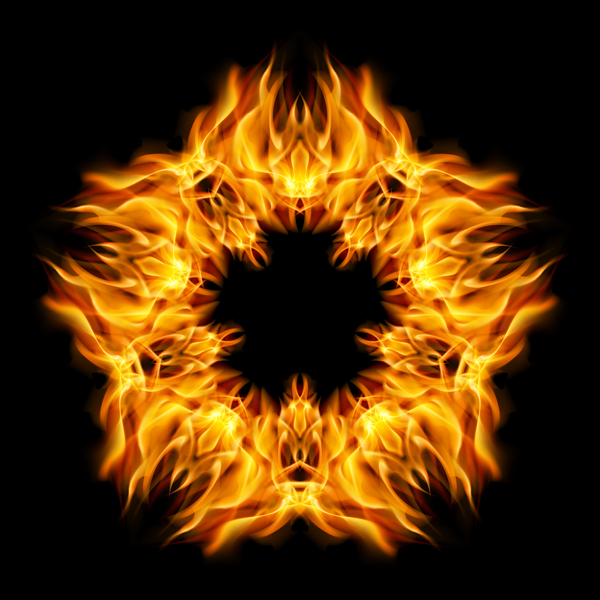 Star fire flame with black background vector