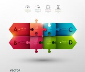 Statistick puzzle infographic vectors 01