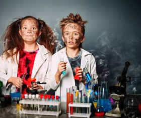 Students with funny facial expressions in chemistry class Stock Photo