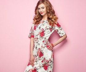 Summer fashion floral dress Stock Photo 01