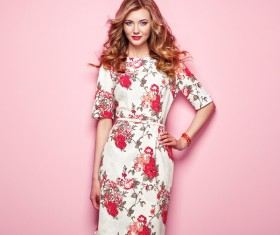Summer fashion floral dress Stock Photo 02