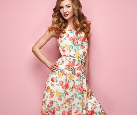 Summer fashion floral dress Stock Photo 03