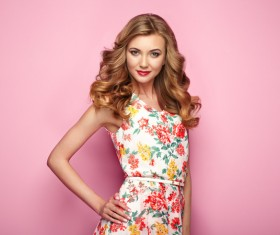Summer fashion floral dress Stock Photo 04